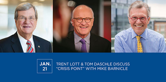 "Trent Lott & Tom Daschle discuss ""Crisis Point"" with Mike Barnicle"
